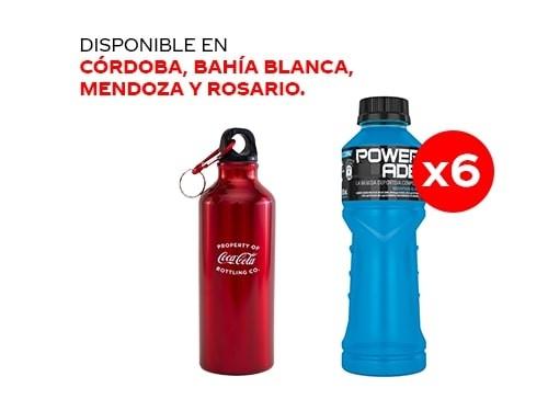 6 Powerade Mountain Blast 500 ml + Botella metálica Coca-Cola