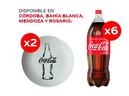 6 Coca-Cola 2.25 lt + 2 Platos Coca-Cola