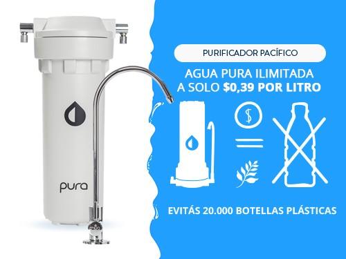 Purificador Agua Elimina Cloro Sabor Olor Filtro Bajo Mesada Pura
