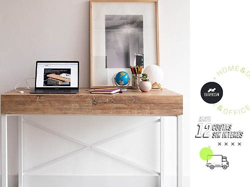 Escritorio HomeOffice Oslo White 2 Cajones BAIRES4