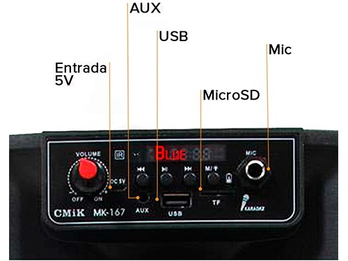 Parlante Bluetooth Portátil Luces Radio USB Karaoke