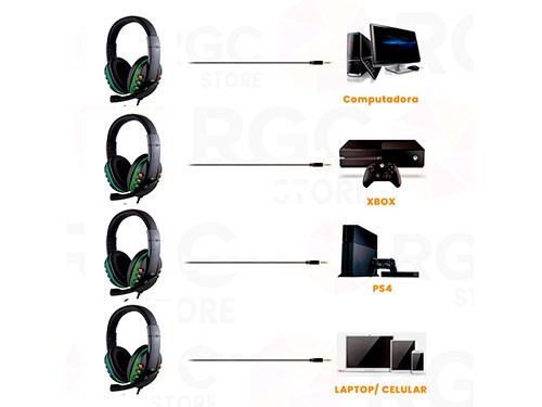 Auricular HEADSET Gamer con luz led RGB y Microfono