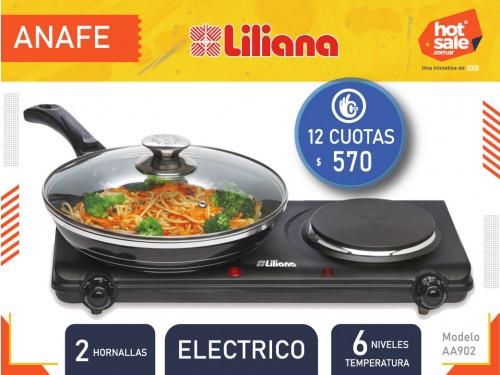 Anafe eléctrico AA902, 2 hornallas, 6 niveles temperatura Liliana