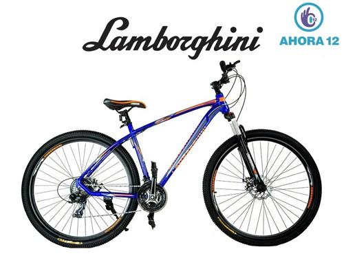 Bicicleta Rodado 29 Lamborghini Aluminio Shimano 21V Azul Y Naranja