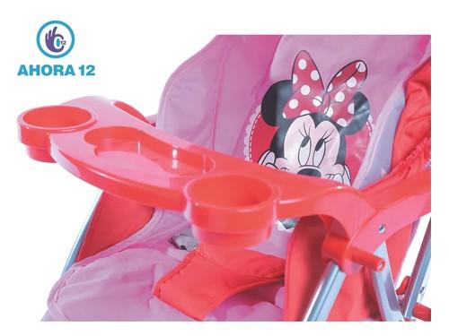 Coche Cuna Reversible 6 Ruedas Disney Original Minnie Rosa Y Rojo