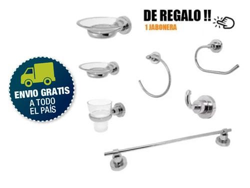 Set Kit Accesorios 6 Piezas Cristal Bronce Cromado Para Baño Facil Ins