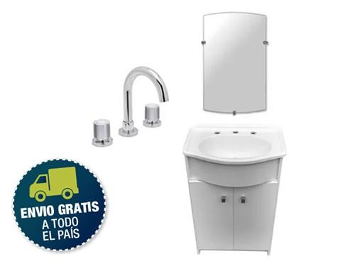 Combo Baño Blanco Espejo Griferia Espejo Pampa Envio Gratis