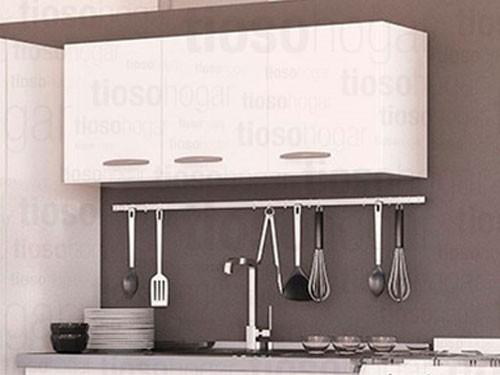 Alacena De Melamina Cocina 3 Puertas 120 Frente Negro Blanco