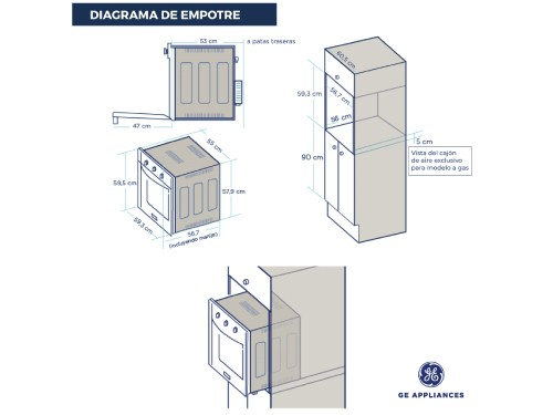Horno Eléctrico 60 cm Inoxidable GE Appliances