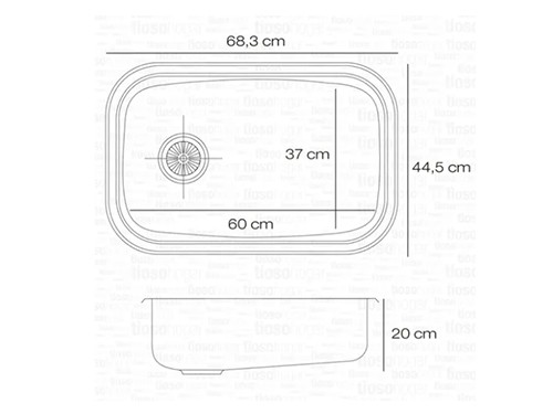 Bachas E60 T Acero Inoxidable Johnson Pileta Simple 60x37x20