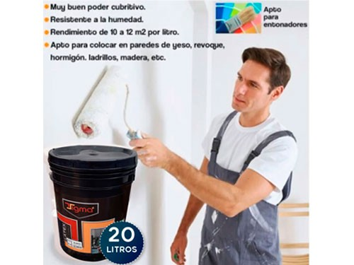 Pintura Latex Interior 20 Litros Blanco Cubritivo Antihongo