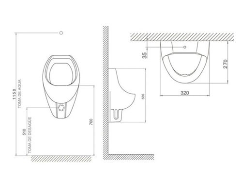 Mingitorio Deca Oval Sanitario Blanco Urinario Público Loza
