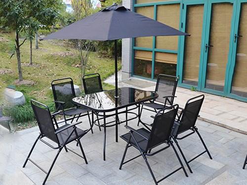 Juego de Jardín Patio Terraza 8 piezas Mesa + 6 Sillones + Sombrilla