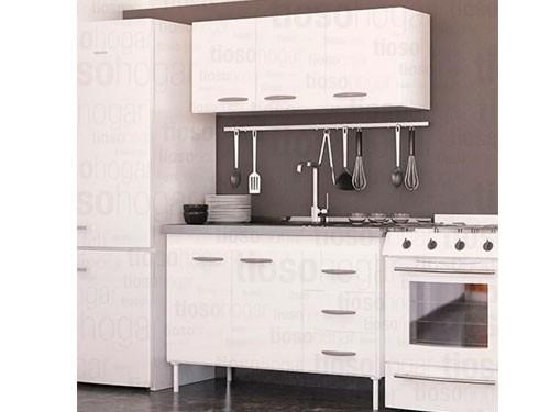 Combo Mueble Cocina Bajomesada Alacena Bacha Doble Acero 140