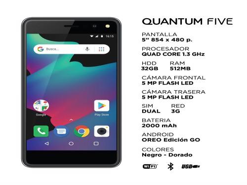 """Celular FIVE 5"""" Dorado 32GB 5MP Android Oreo Go Quantum"""