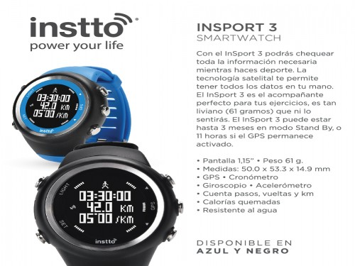 Reloj Smart Instto inSport3 GPS Sport