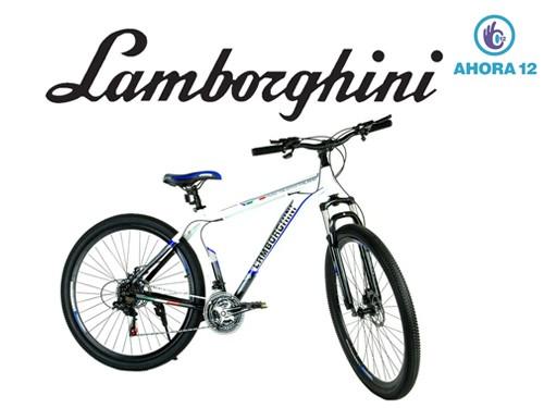 Bicicleta Rodado 29 Lamborghini Aluminio Shimano 21V Blanco y Negro