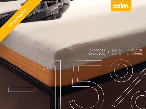Colchón 1 plaza en Caja Calm 80 x 190