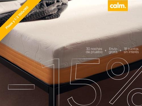Colchón plaza y 1/2 en Caja Calm 100 x 190