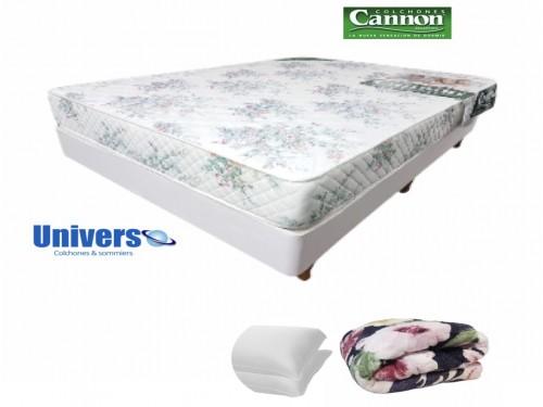 Combo Colchon Princess Cannon 140x190 + Sommier + Frazada + Almohadas