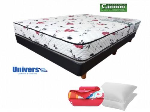 Combo Colchon Soñar Cannon 140x190 + Sommier + Sabanas + Almohadas