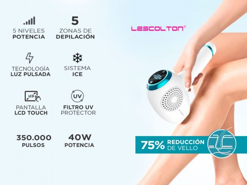 Depiladora Láser Lescolton T011C Sistema Ice 40w Filtro UV