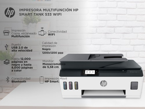 Impresora HP Smart Tank 533 Multifunción Sistema Continuo WiFi Bluetoo