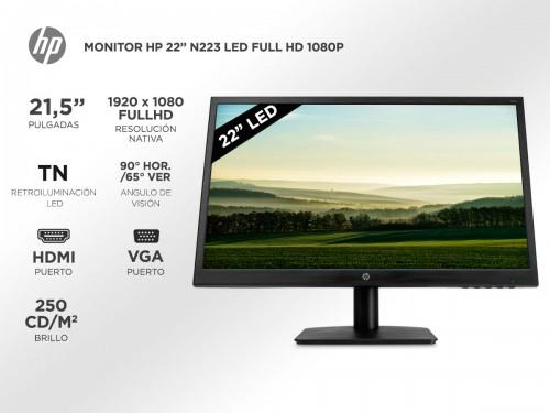 "Monitor HP N223 22"" Full HD 1080p HDMI VGA"