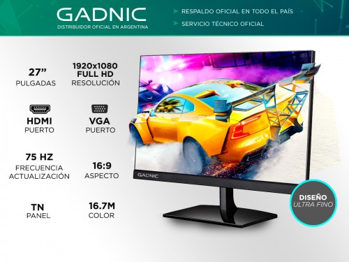 "Monitor GADNIC 27"" Gamer G4D71N-F Full HD 1080p 75 Hz"
