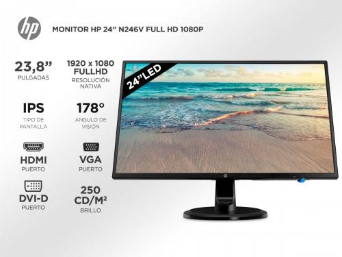"Monitor HP N246V 24"" IPS Full HD 1080p HDMI VGA DVI-D"
