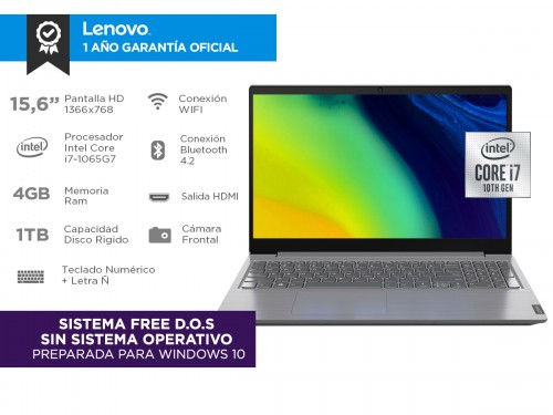 "Notebook Lenovo V15 IIL Intel Core I7 10ma Gen 4gb 1tb 15,6"""
