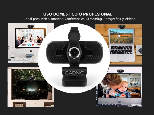Webcam Gadnic 2K USB con Micrófono Streaming 1440p 30fps