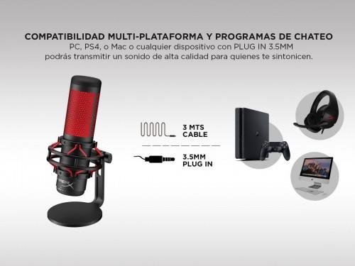 Micrófono Condensador Hyperx Quadcast Multipatrón Filtro Anti-Chasquid