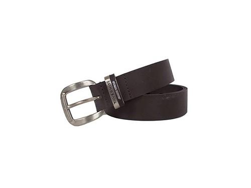Cinturón de cuero con hebilla metálica y pasador Taverniti