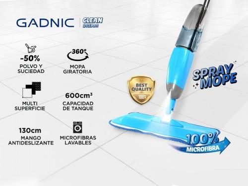 Mopa Gadnic Spray Mope Trapeador Microfibra con Rociador 3 Paños Lavab