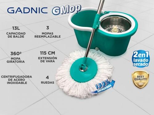 Mopa Gadnic G-Mop con Balde Escurridor Centrífugo Lampazo 360° + Paños