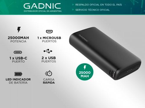 Cargador Portátil Gadnic K25 25000 mAh Carga Rápida 2 USB + USB C