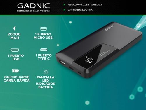 Cargador Portátil Gadnic BC-19 20000 mAh Carga Rápida USB C