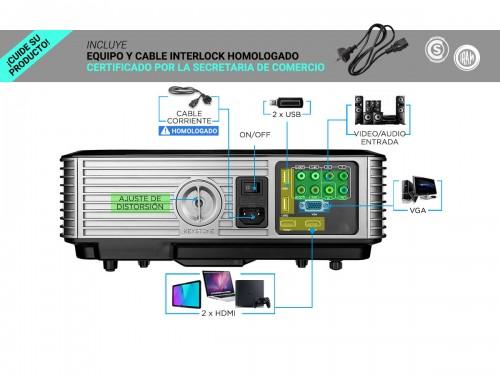 Proyector Gadnic Ultra View 6000 Lúmenes HDMI x 2 VGA USB