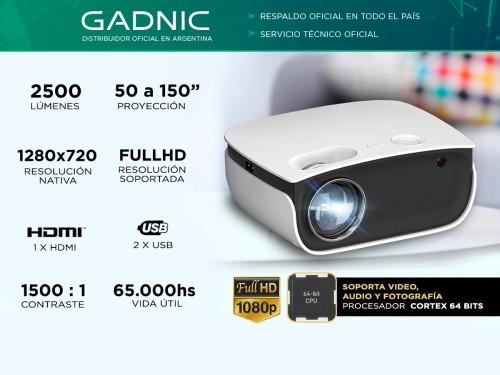 Proyector Gadnic Unique 2500 Lumenes Hdmi