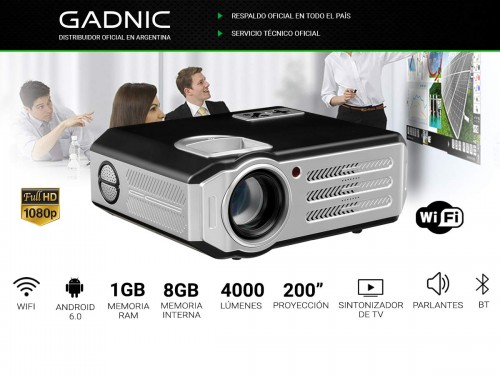 Proyector Gadnic Highlight 4000 Lúmenes Android WiFi Bluetooth Sinto T