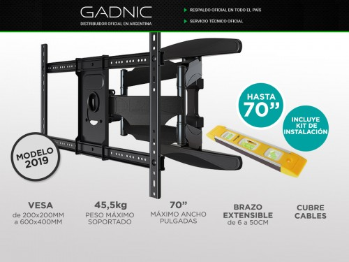 "Soporte Tv Led Gadnic Smart Tv LCD 40"" a 70"" Articulado Movible"