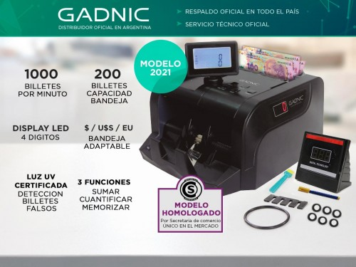 Contadora De Billetes Gadnic C-4200 Portable Homologada Doble Visor De