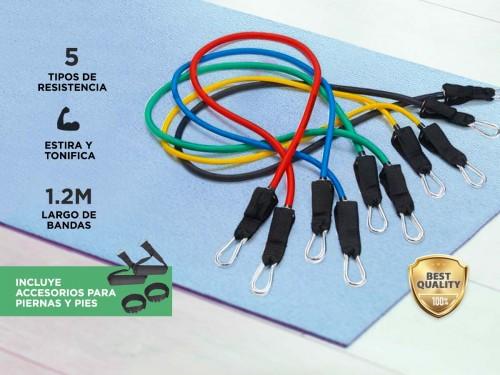 Bandas Elásticas Gadnic Kit x5 1.2mts 5 Intensidades + Anclajes y Acce