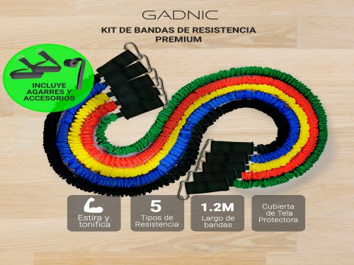 Bandas Elásticas de Resistencia Gadnic Premium Kit x5 + Agarres Soport