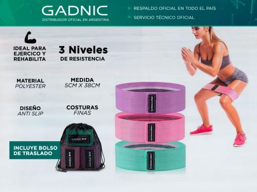 Bandas Elásticas Gadnic Fit Polyester Kit x3 de Resistencia Circulares