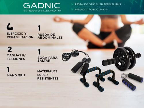 Kit Entrenamiento Fitness Gadnic Ab Wheel + Soga + Manijas + Hand Grip
