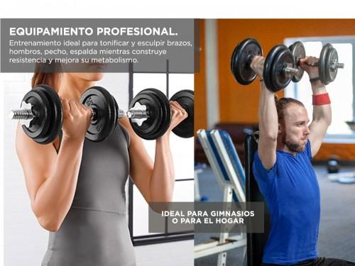 Mancuernas Gadnic Set x 2 Acero Macizo 35kg Total Trabas Regulables a