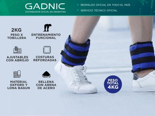 Tobilleras con Peso Gadnic Kit x 2 de 2kg c/u Reforzadas con Abrojo