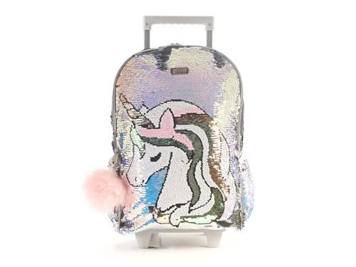 Mochila Escolar Kooshi Lentejuelas Unicornio con Carro 17 Pulgadas